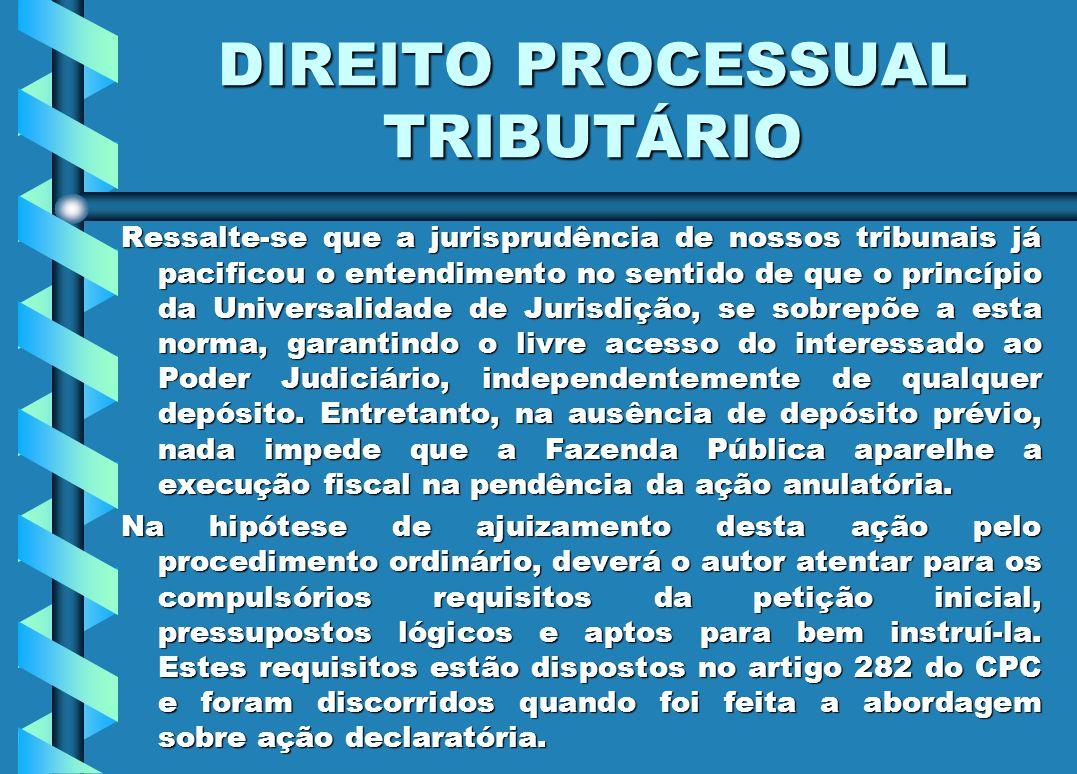 DIREITO PROCESSUAL TRIBUTÁRIO Ressalte-se que a jurisprudência de nossos tribunais já pacificou o entendimento no sentido de que o princípio da Univer