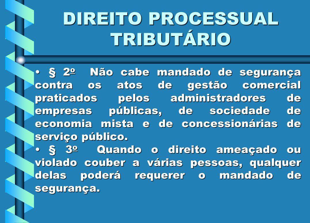 DIREITO PROCESSUAL TRIBUTÁRIO § 2 o Não cabe mandado de segurança contra os atos de gestão comercial praticados pelos administradores de empresas públ
