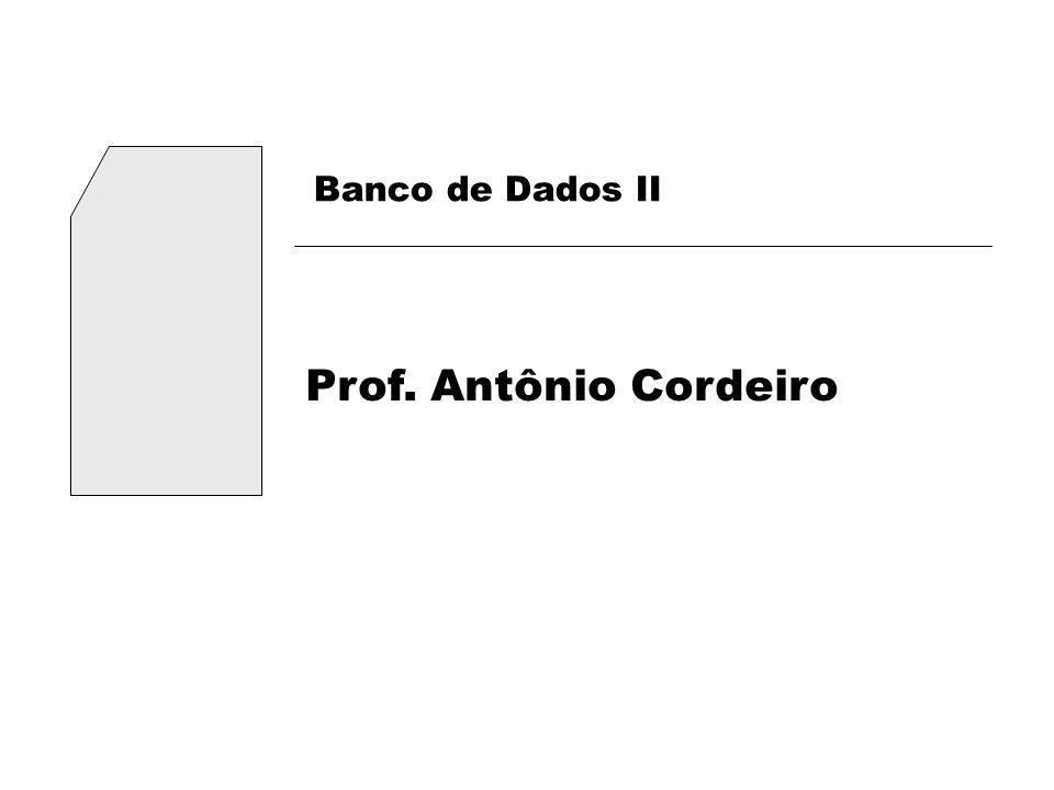 Banco de Dados II Prof. Antônio Cordeiro