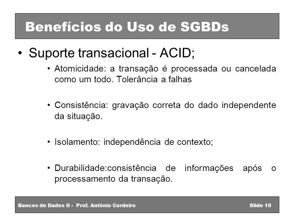 Suporte transacional - ACID; Atomicidade: a transação é processada ou cancelada como um todo.