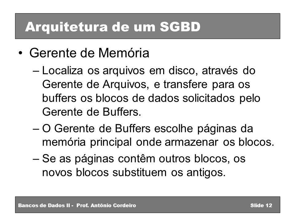 Gerente de Memória –Localiza os arquivos em disco, através do Gerente de Arquivos, e transfere para os buffers os blocos de dados solicitados pelo Gerente de Buffers.