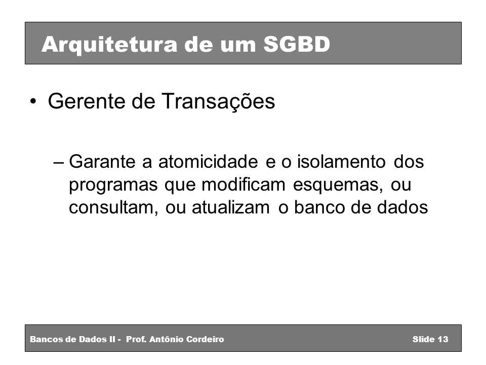 Gerente de Transações –Garante a atomicidade e o isolamento dos programas que modificam esquemas, ou consultam, ou atualizam o banco de dados Arquitetura de um SGBD Bancos de Dados II - Prof.