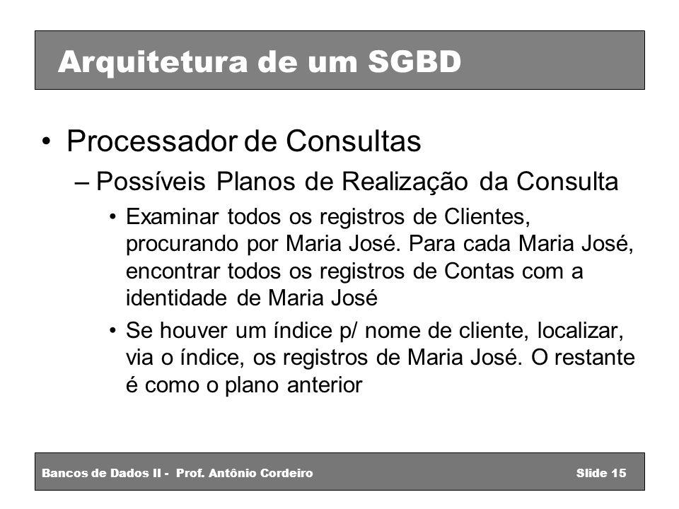 Processador de Consultas –Possíveis Planos de Realização da Consulta Examinar todos os registros de Clientes, procurando por Maria José.