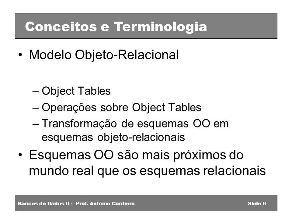 Modelo Objeto-Relacional –Object Tables –Operações sobre Object Tables –Transformação de esquemas OO em esquemas objeto-relacionais Esquemas OO são mais próximos do mundo real que os esquemas relacionais Conceitos e Terminologia Bancos de Dados II - Prof.