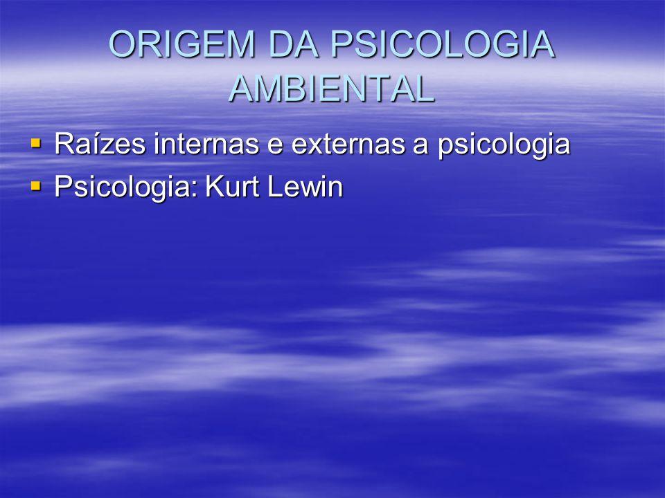 ORIGEM DA PSICOLOGIA AMBIENTAL Raízes internas e externas a psicologia Raízes internas e externas a psicologia Psicologia: Kurt Lewin Psicologia: Kurt