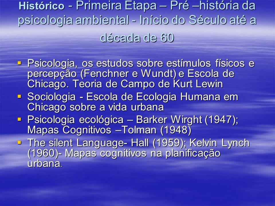 Histórico - Primeira Etapa – Pré –história da psicologia ambiental - Início do Século até a década de 60 Psicologia, os estudos sobre estímulos físico