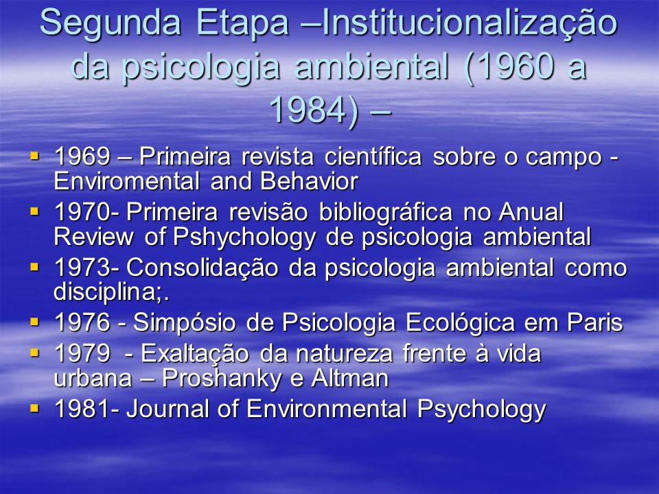 Segunda Etapa –Institucionalização da psicologia ambiental (1960 a 1984) – 1969 – Primeira revista científica sobre o campo - Enviromental and Behavio