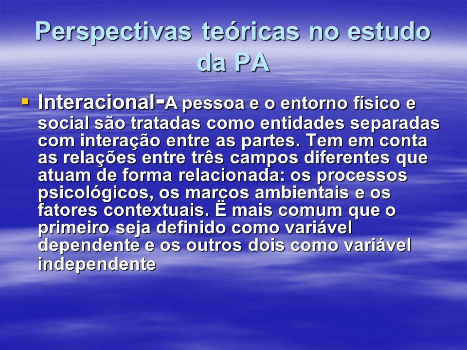 Perspectivas teóricas no estudo da PA Interacional - A pessoa e o entorno físico e social são tratadas como entidades separadas com interação entre as