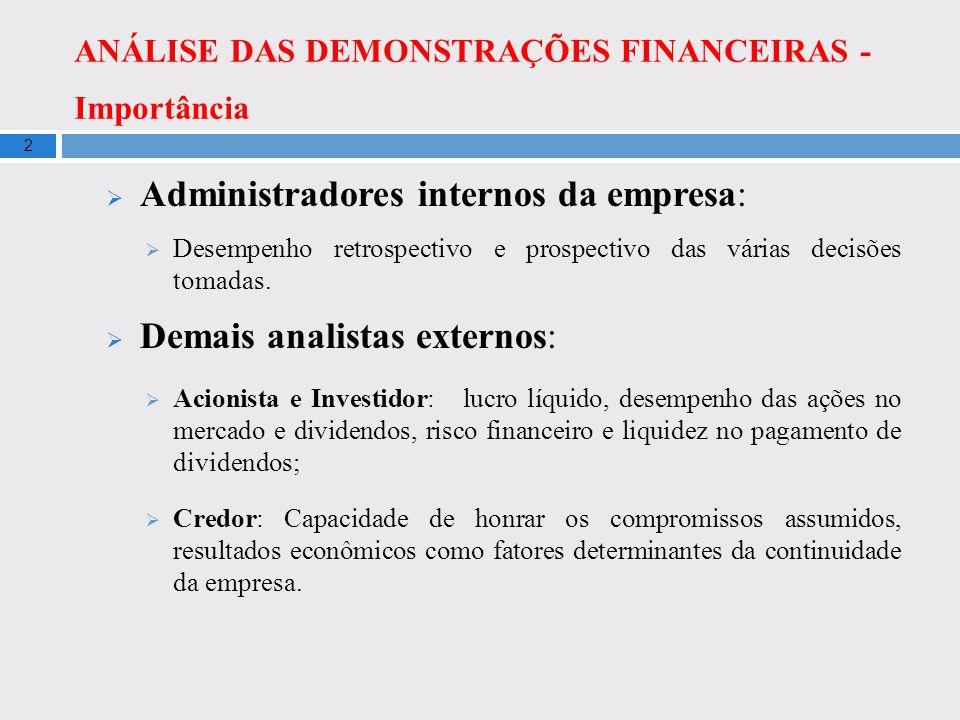 ANÁLISE DAS DEMONSTRAÇÕES FINANCEIRAS - Importância 2 Administradores internos da empresa: Desempenho retrospectivo e prospectivo das várias decisões