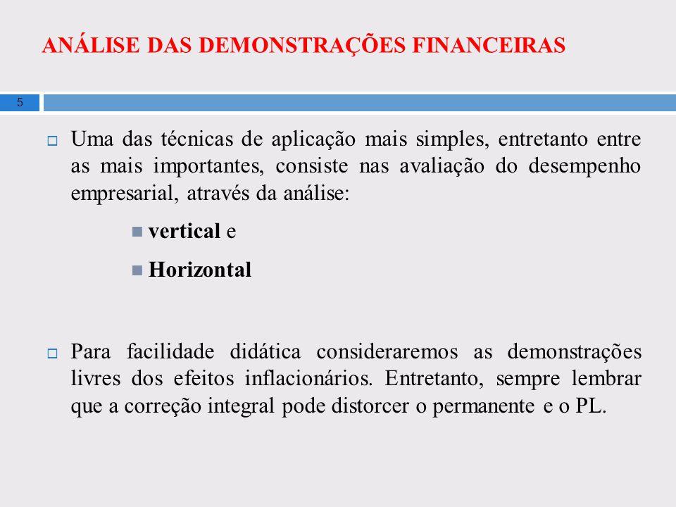 ANÁLISE DAS DEMONSTRAÇÕES FINANCEIRAS 5 Uma das técnicas de aplicação mais simples, entretanto entre as mais importantes, consiste nas avaliação do de