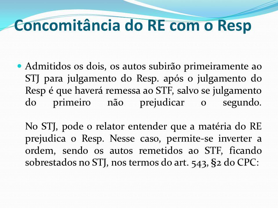 Concomitância do RE com o Resp Admitidos os dois, os autos subirão primeiramente ao STJ para julgamento do Resp.