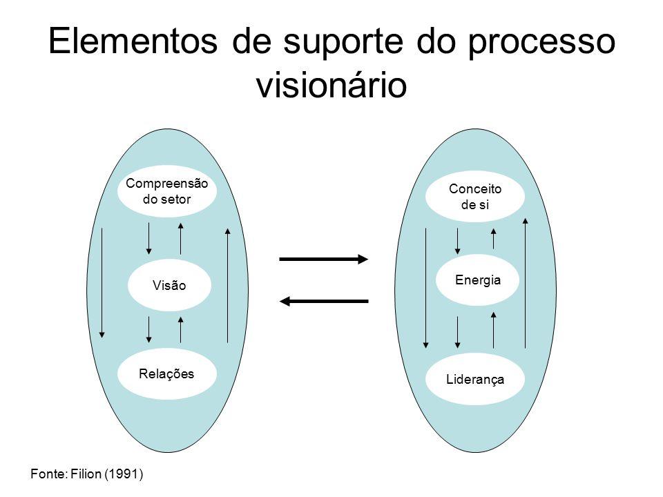 Elementos de suporte do processo visionário Compreensão do setor Visão Relações Conceito de si Energia Liderança Fonte: Filion (1991)