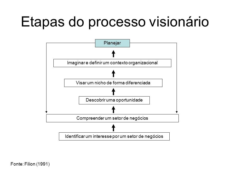 Etapas do processo visionário Planejar Imaginar e definir um contexto organizacional Identificar um interesse por um setor de negócios Compreender um