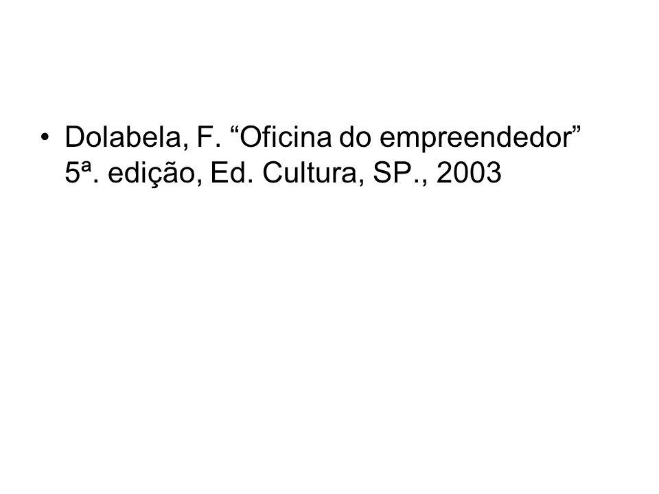 Dolabela, F. Oficina do empreendedor 5ª. edição, Ed. Cultura, SP., 2003