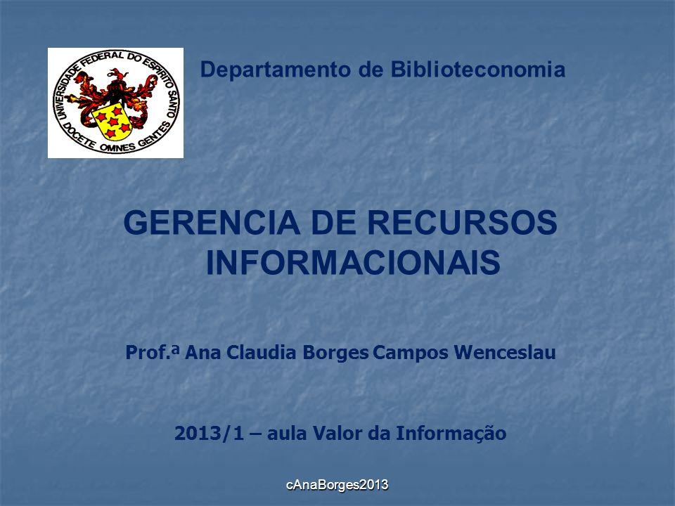 Departamento de Biblioteconomia GERENCIA DE RECURSOS INFORMACIONAIS Prof.ª Ana Claudia Borges Campos Wenceslau 2013/1 – aula Valor da Informação cAnaB