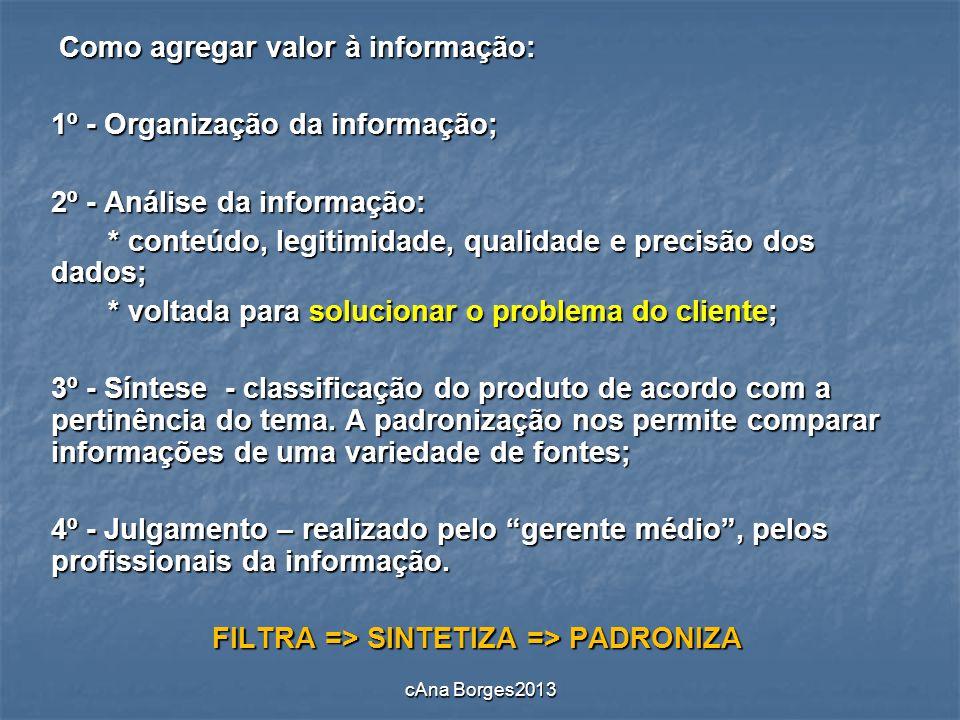 Como agregar valor à informação: Como agregar valor à informação: 1º - Organização da informação; 2º - Análise da informação: * conteúdo, legitimidade
