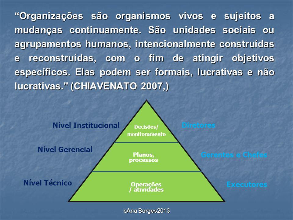 Organizações são organismos vivos e sujeitos a mudanças continuamente. São unidades sociais ou agrupamentos humanos, intencionalmente construídas e re