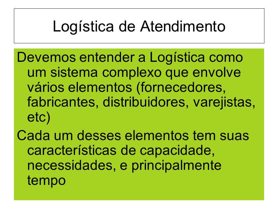 Logística de Atendimento Devemos entender a Logística como um sistema complexo que envolve vários elementos (fornecedores, fabricantes, distribuidores