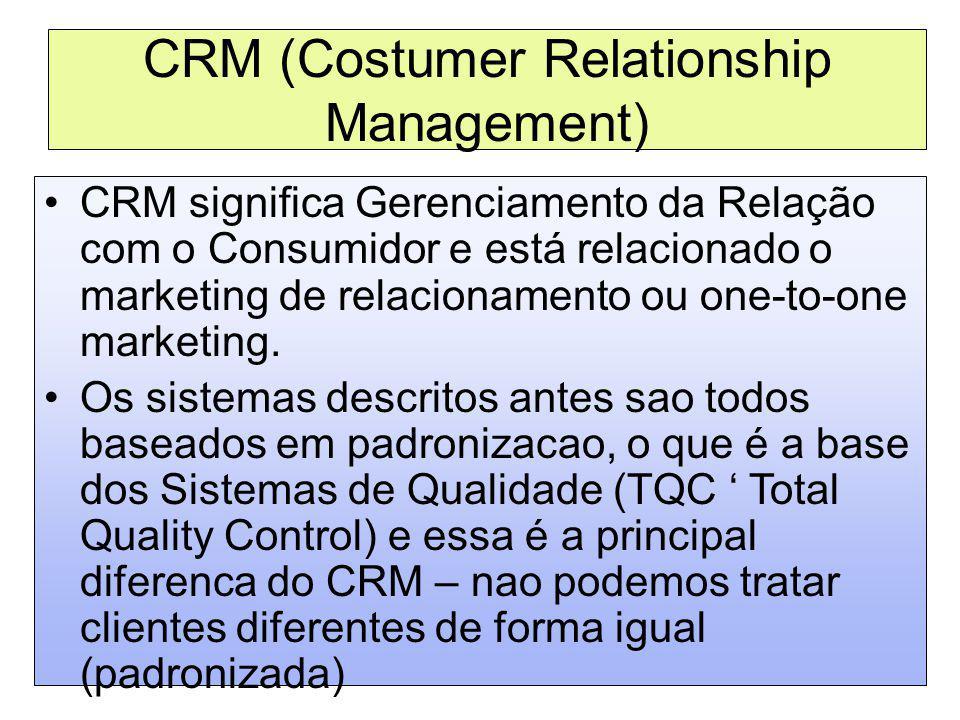 CRM (Costumer Relationship Management) CRM significa Gerenciamento da Relação com o Consumidor e está relacionado o marketing de relacionamento ou one