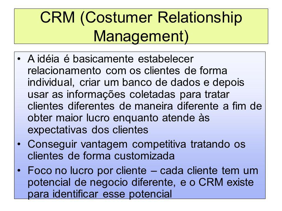 CRM (Costumer Relationship Management) A idéia é basicamente estabelecer relacionamento com os clientes de forma individual, criar um banco de dados e