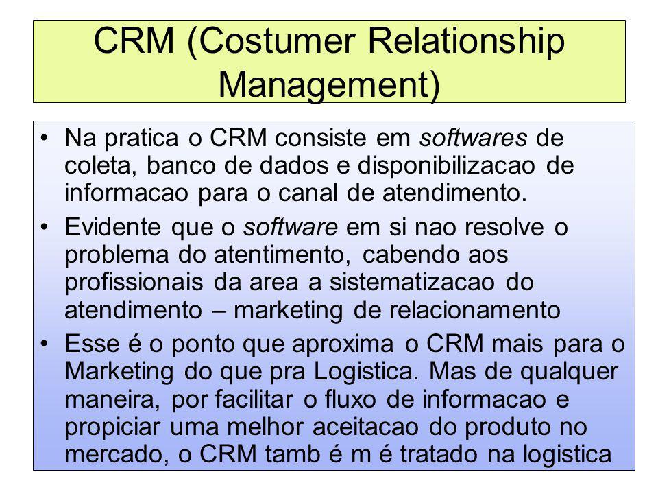 CRM (Costumer Relationship Management) Na pratica o CRM consiste em softwares de coleta, banco de dados e disponibilizacao de informacao para o canal