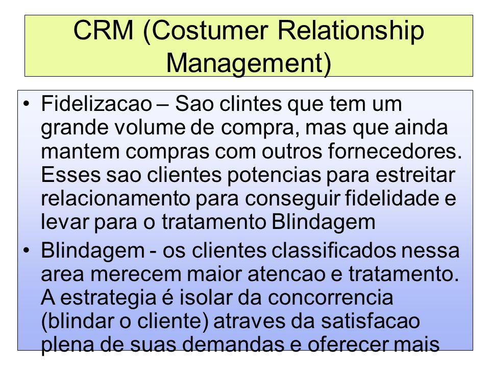 CRM (Costumer Relationship Management) Fidelizacao – Sao clintes que tem um grande volume de compra, mas que ainda mantem compras com outros fornecedo