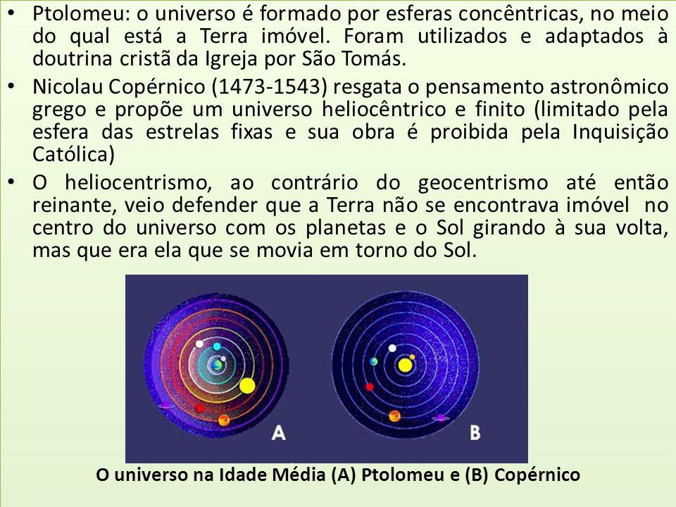 Ptolomeu: o universo é formado por esferas concêntricas, no meio do qual está a Terra imóvel. Foram utilizados e adaptados à doutrina cristã da Igreja