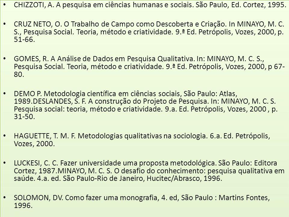 CHIZZOTI, A. A pesquisa em ciências humanas e sociais. São Paulo, Ed. Cortez, 1995. CRUZ NETO, O. O Trabalho de Campo como Descoberta e Criação. In MI
