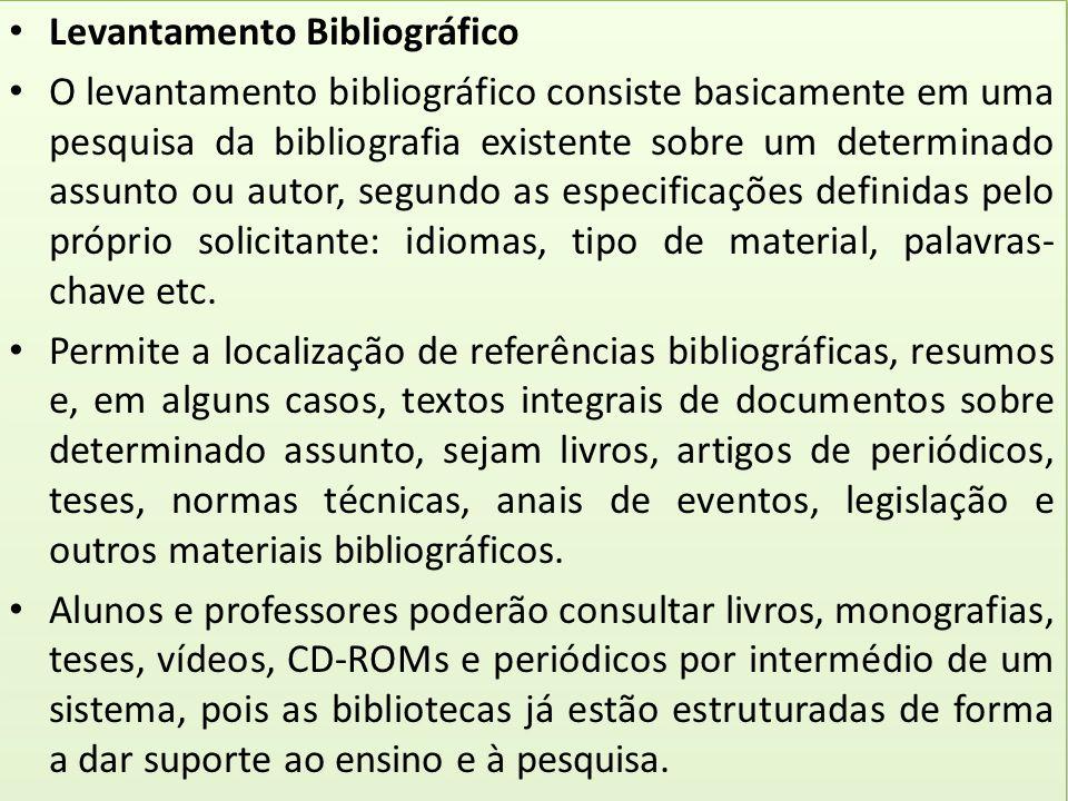 Levantamento Bibliográfico O levantamento bibliográfico consiste basicamente em uma pesquisa da bibliografia existente sobre um determinado assunto ou