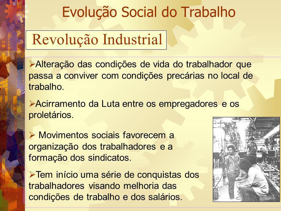 Evolução Social do Trabalho Alteração das condições de vida do trabalhador que passa a conviver com condições precárias no local de trabalho. Acirrame