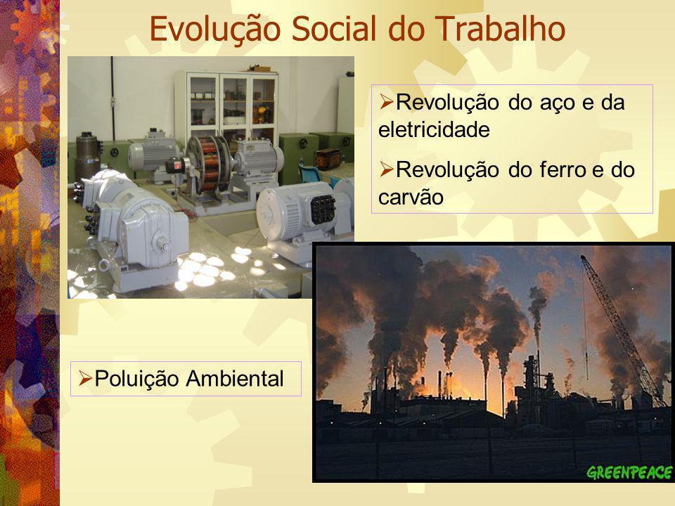 Evolução Social do Trabalho Revolução do aço e da eletricidade Revolução do ferro e do carvão Poluição Ambiental
