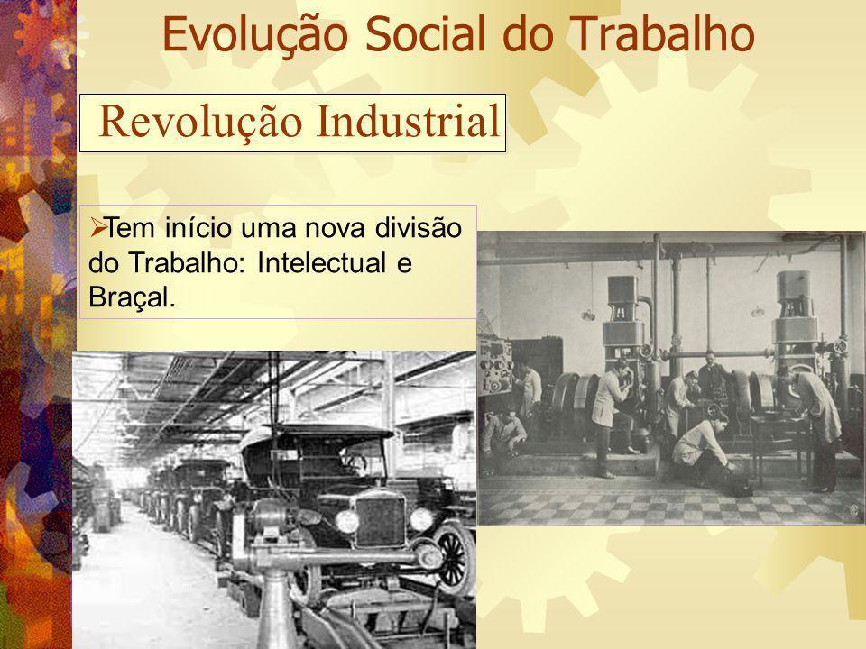 Evolução Social do Trabalho Tem início uma nova divisão do Trabalho: Intelectual e Braçal. Revolução Industrial
