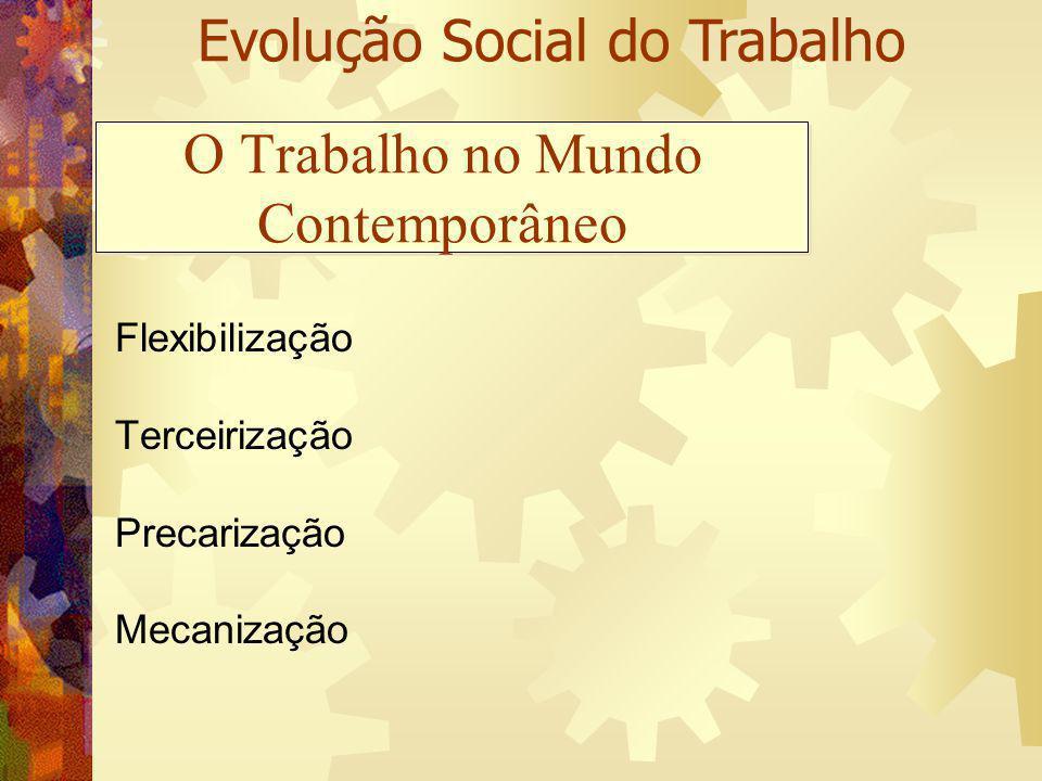 O Trabalho no Mundo Contemporâneo Flexibilização Terceirização Precarização Mecanização Evolução Social do Trabalho