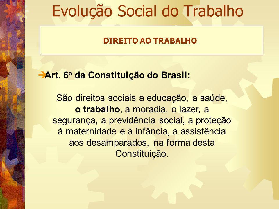 Evolução Social do Trabalho Art. 6 o da Constituição do Brasil: DIREITO AO TRABALHO São direitos sociais a educação, a saúde, o trabalho, a moradia, o