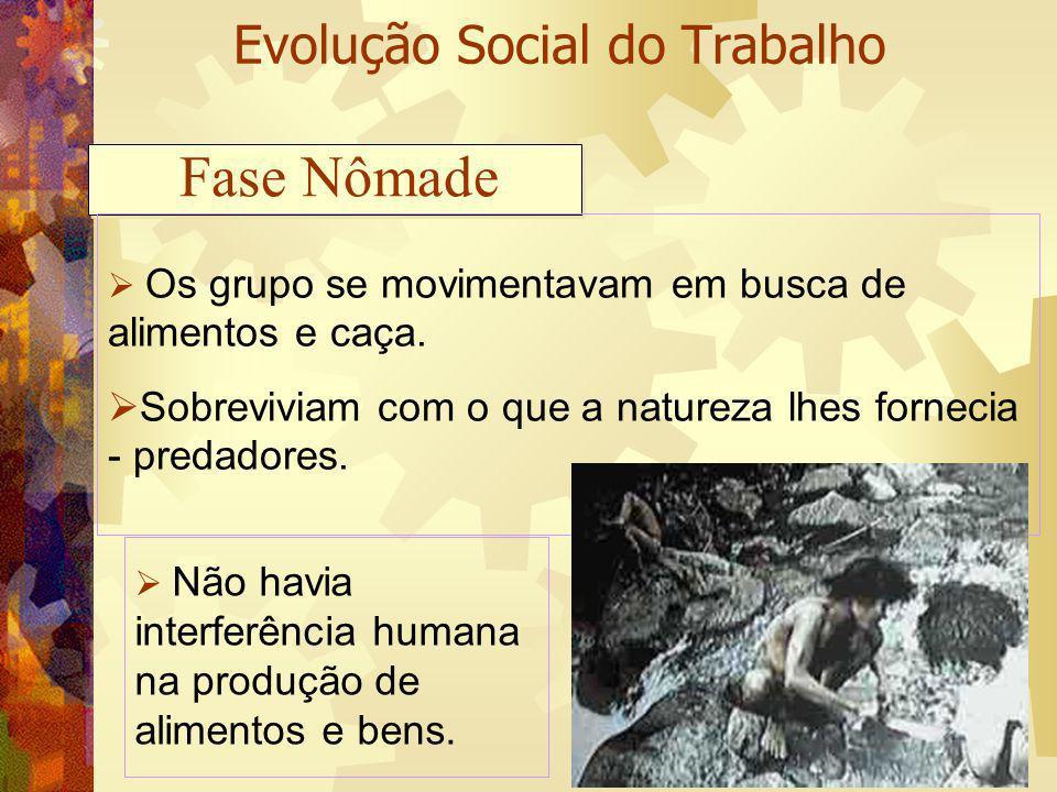 Evolução Social do Trabalho Os grupo se movimentavam em busca de alimentos e caça. Sobreviviam com o que a natureza lhes fornecia - predadores. Fase N
