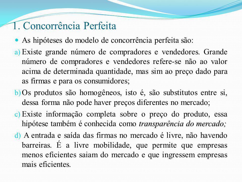1. Concorrência Perfeita As hipóteses do modelo de concorrência perfeita são: a) Existe grande número de compradores e vendedores. Grande número de co
