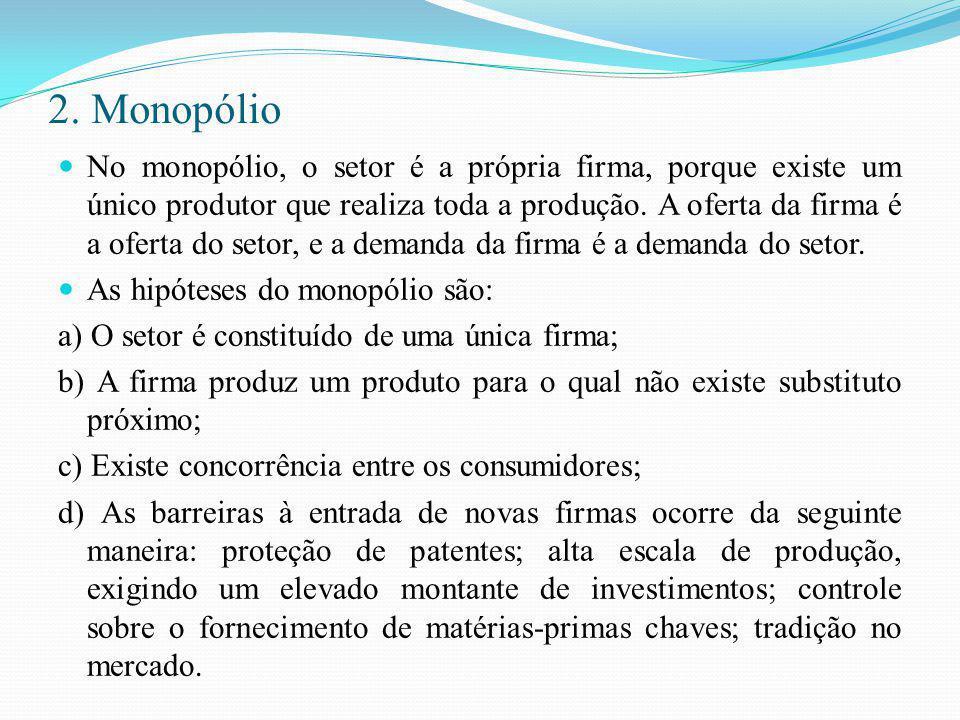 2. Monopólio No monopólio, o setor é a própria firma, porque existe um único produtor que realiza toda a produção. A oferta da firma é a oferta do set
