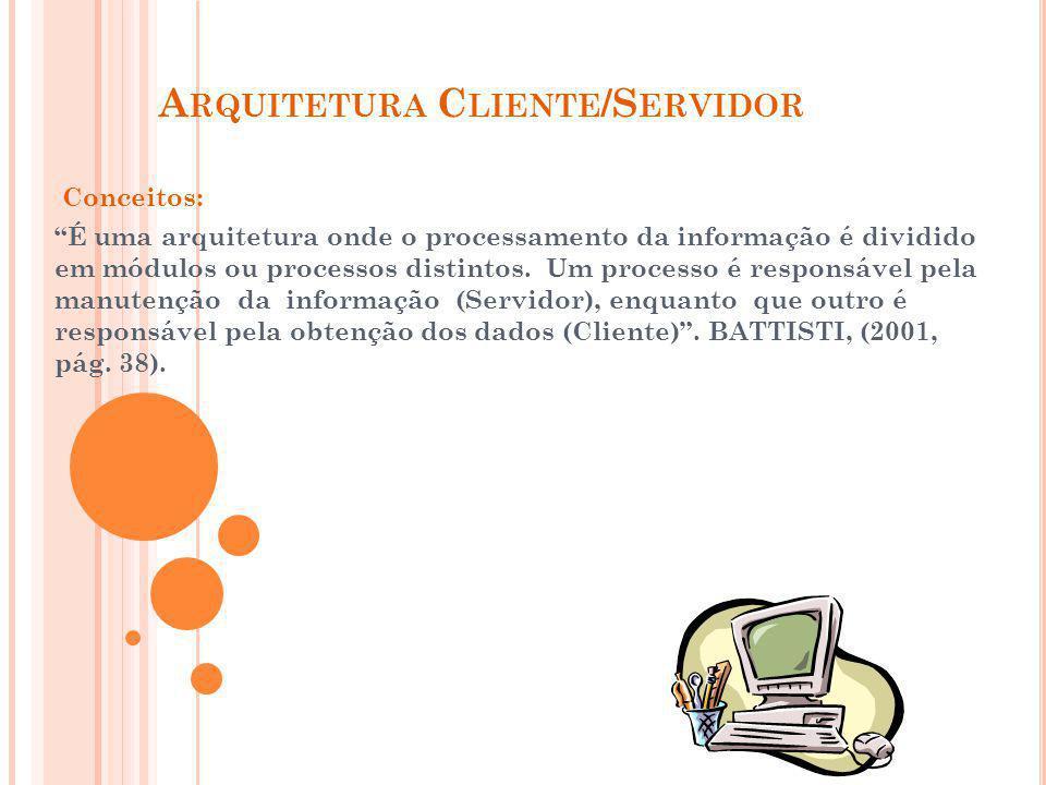 Conceitos: É uma arquitetura onde o processamento da informação é dividido em módulos ou processos distintos. Um processo é responsável pela manutençã