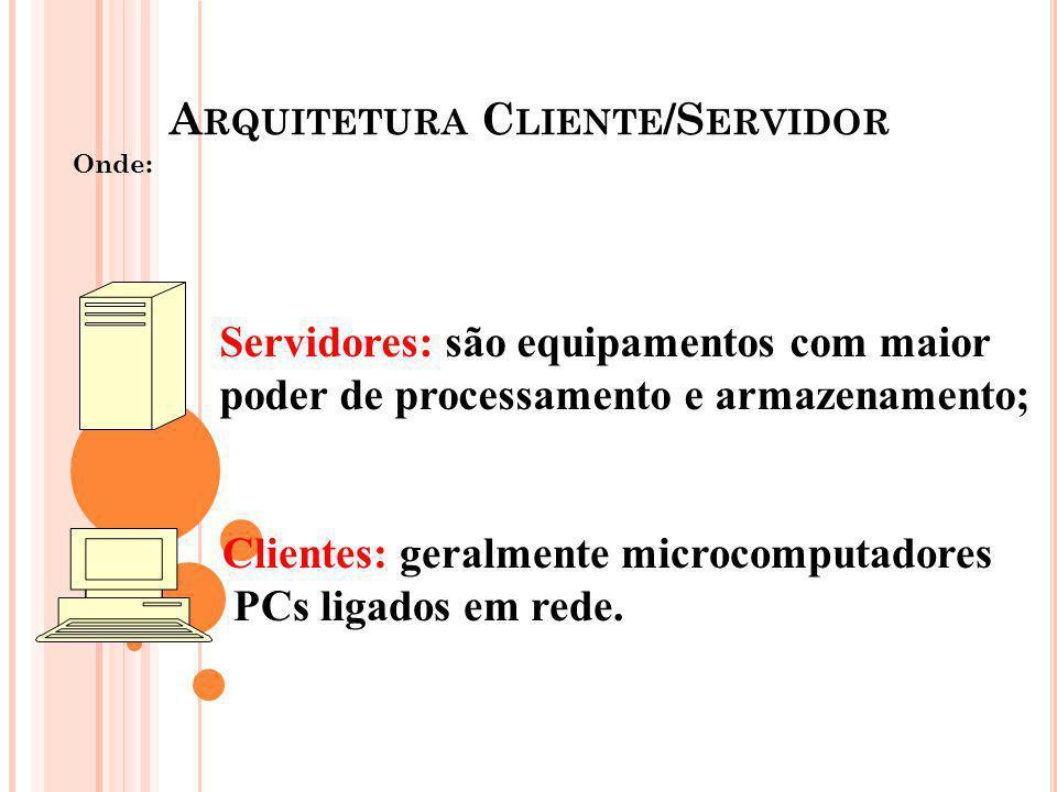 A RQUITETURA C LIENTE /S ERVIDOR Onde: Servidores: são equipamentos com maior poder de processamento e armazenamento; Clientes: geralmente microcomput