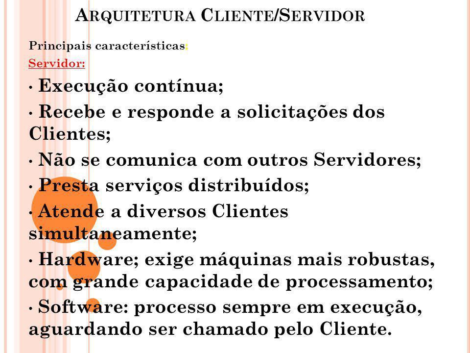 A RQUITETURA C LIENTE /S ERVIDOR Principais características: Servidor: Execução contínua; Recebe e responde a solicitações dos Clientes; Não se comuni