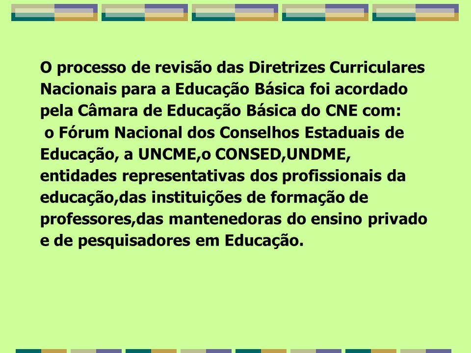 O processo de revisão das Diretrizes Curriculares Nacionais para a Educação Básica foi acordado pela Câmara de Educação Básica do CNE com: o Fórum Nacional dos Conselhos Estaduais de Educação, a UNCME,o CONSED,UNDME, entidades representativas dos profissionais da educação,das instituições de formação de professores,das mantenedoras do ensino privado e de pesquisadores em Educação.
