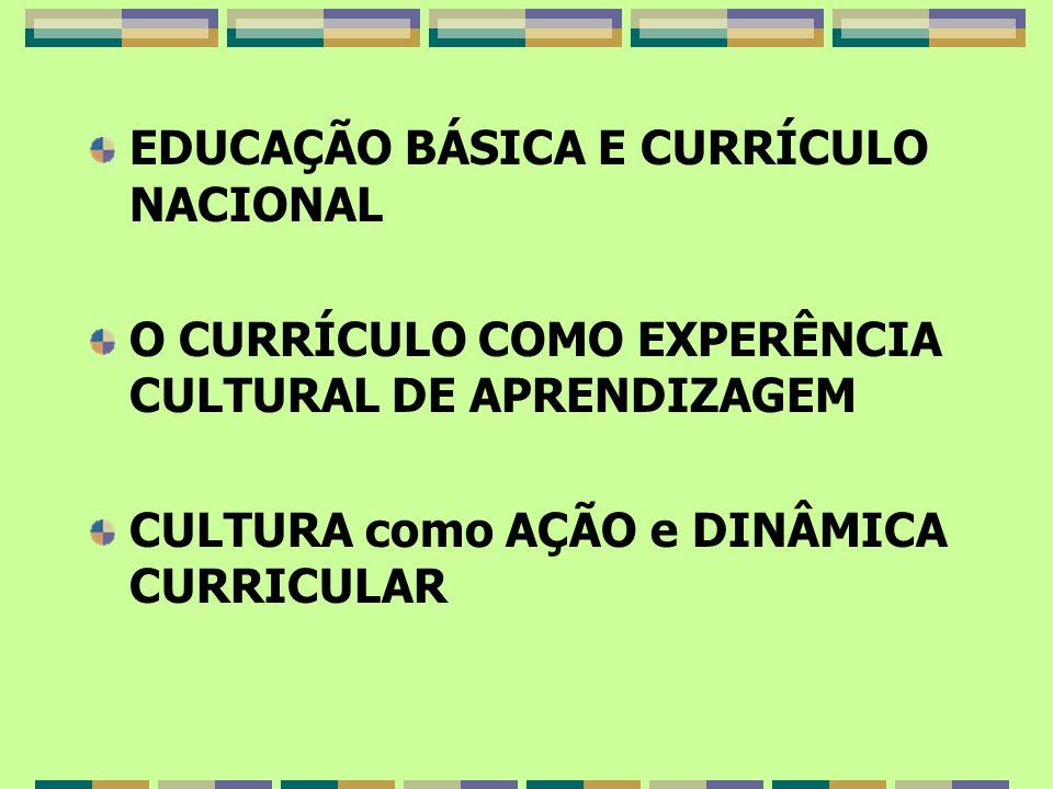 EDUCAÇÃO BÁSICA E CURRÍCULO NACIONAL O CURRÍCULO COMO EXPERÊNCIA CULTURAL DE APRENDIZAGEM CULTURA como AÇÃO e DINÂMICA CURRICULAR