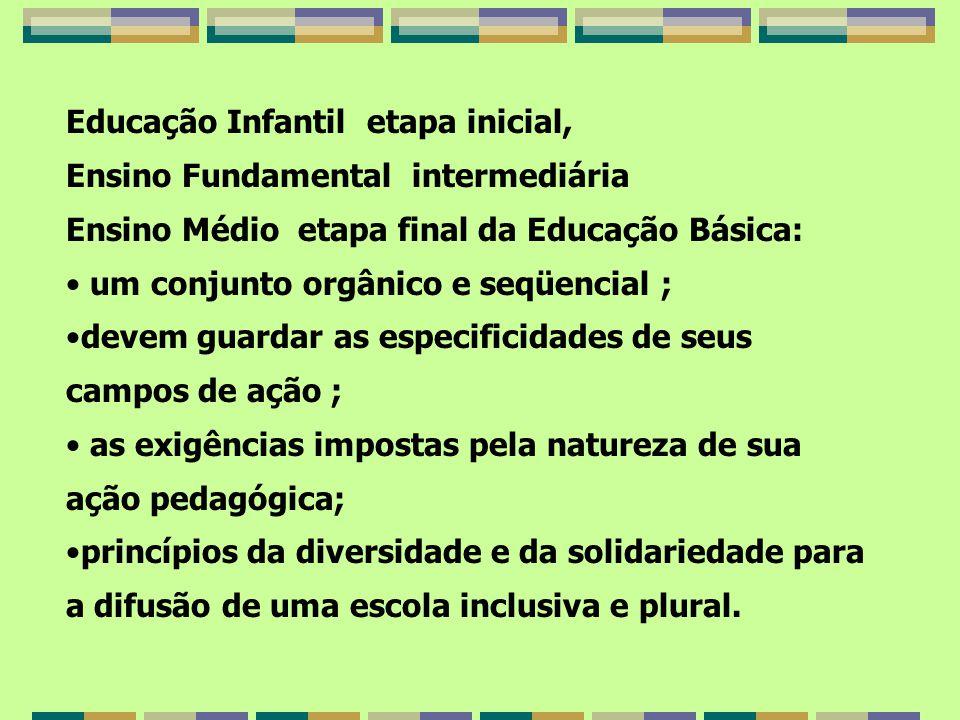 Educação Infantil etapa inicial, Ensino Fundamental intermediária Ensino Médio etapa final da Educação Básica: um conjunto orgânico e seqüencial ; dev