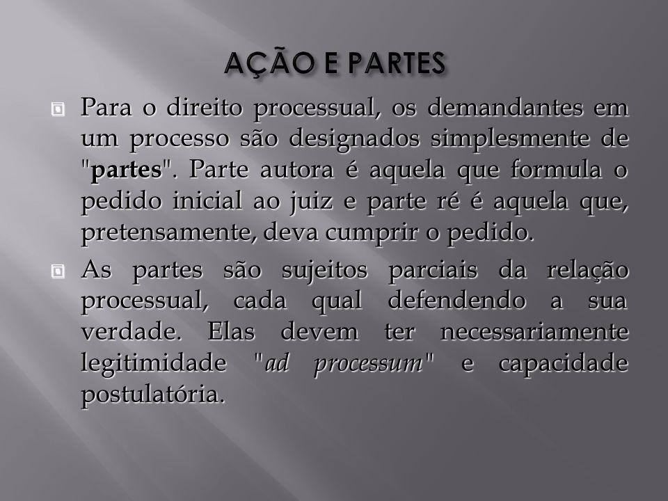 Para o direito processual, os demandantes em um processo são designados simplesmente de partes .
