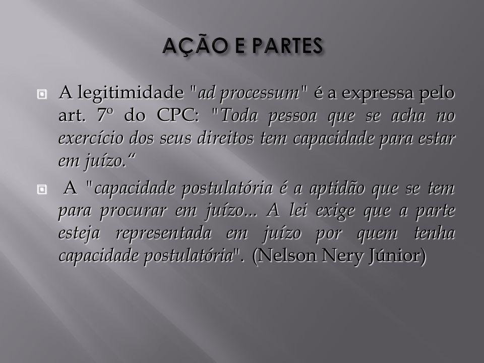 A legitimidade ad processum é a expressa pelo art.