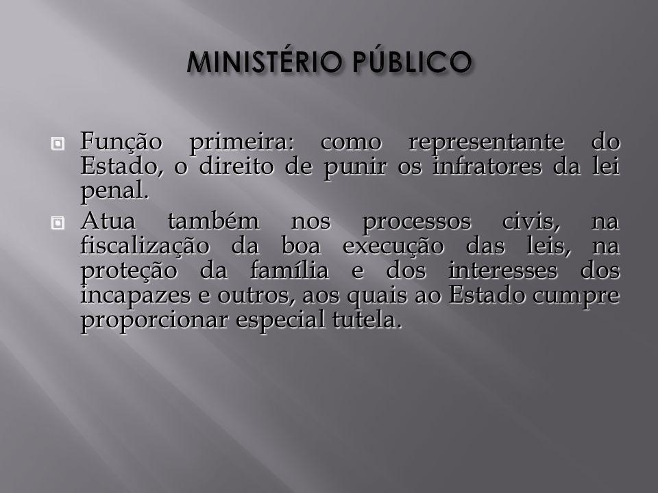 Função primeira: como representante do Estado, o direito de punir os infratores da lei penal.