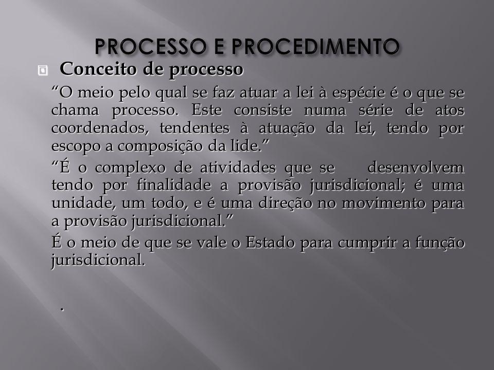 Conceito de processo Conceito de processo O meio pelo qual se faz atuar a lei à espécie é o que se chama processo.