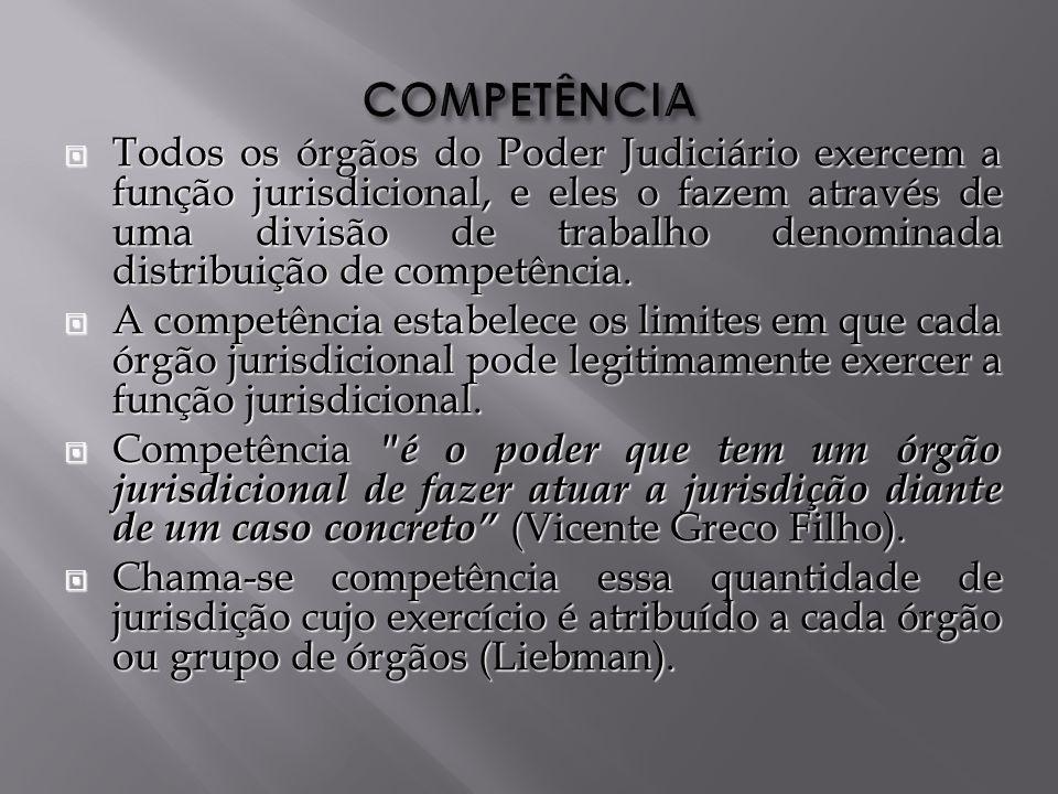 Todos os órgãos do Poder Judiciário exercem a função jurisdicional, e eles o fazem através de uma divisão de trabalho denominada distribuição de competência.