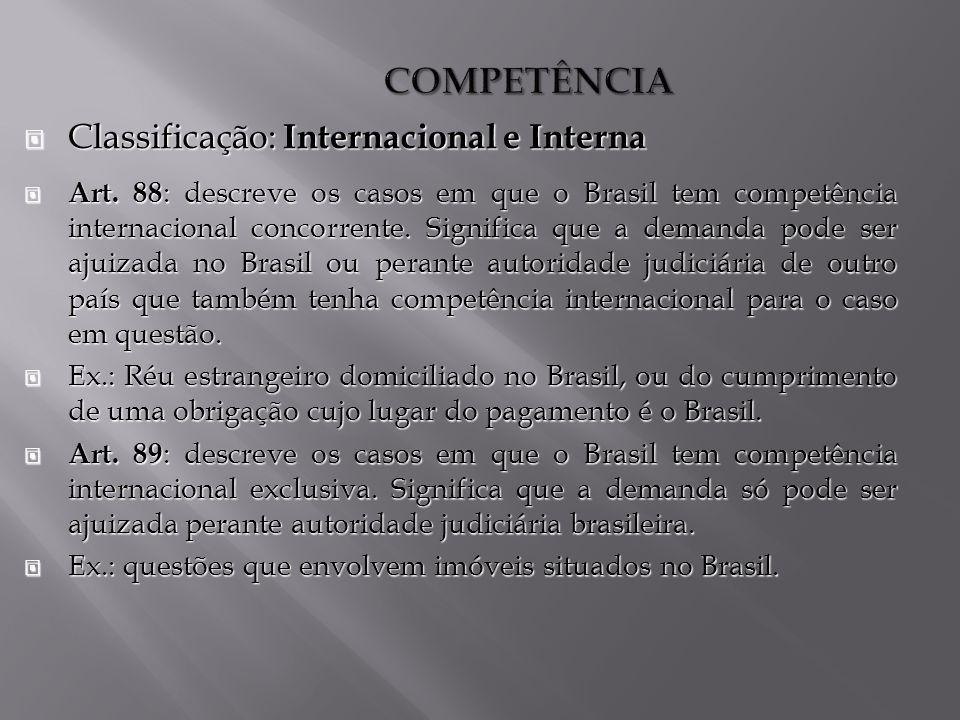 COMPETÊNCIA Classificação: Internacional e Interna Classificação: Internacional e Interna Art.