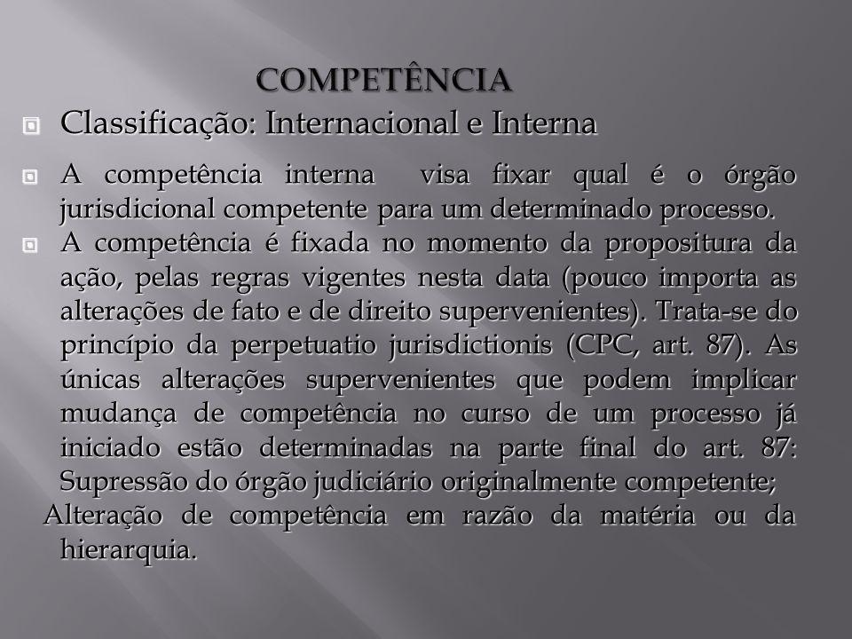 COMPETÊNCIA Classificação: Internacional e Interna Classificação: Internacional e Interna A competência interna visa fixar qual é o órgão jurisdicional competente para um determinado processo.